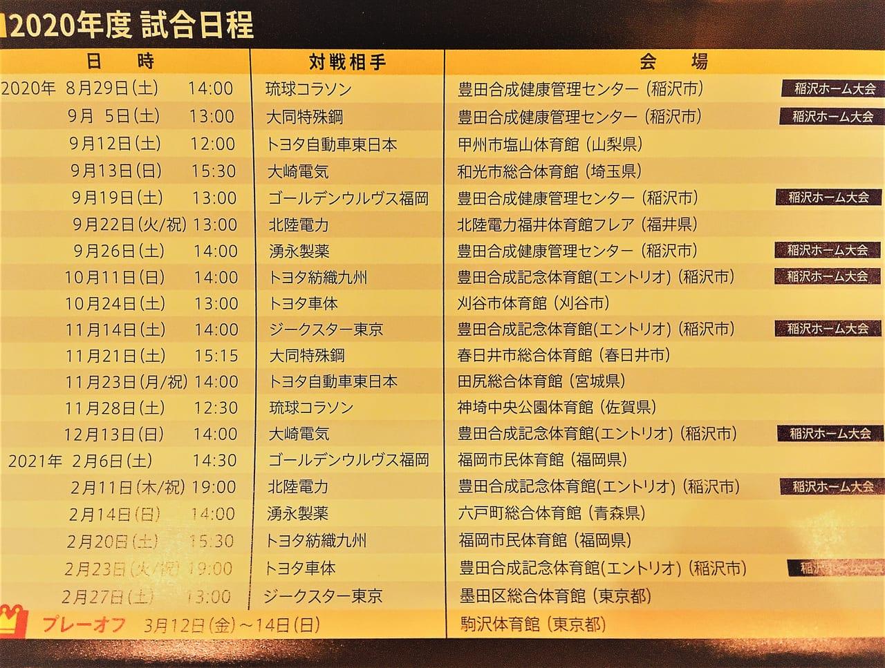 豊田合成ブルーファルコンの試合の日程