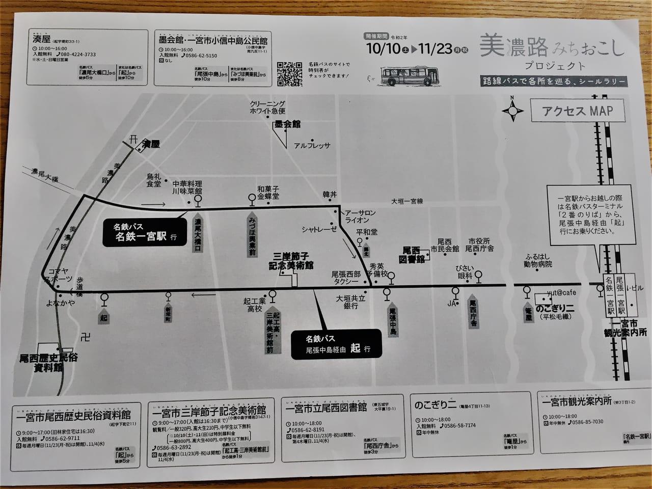 美濃路みちおこしプロジェクトチラシバス路線図