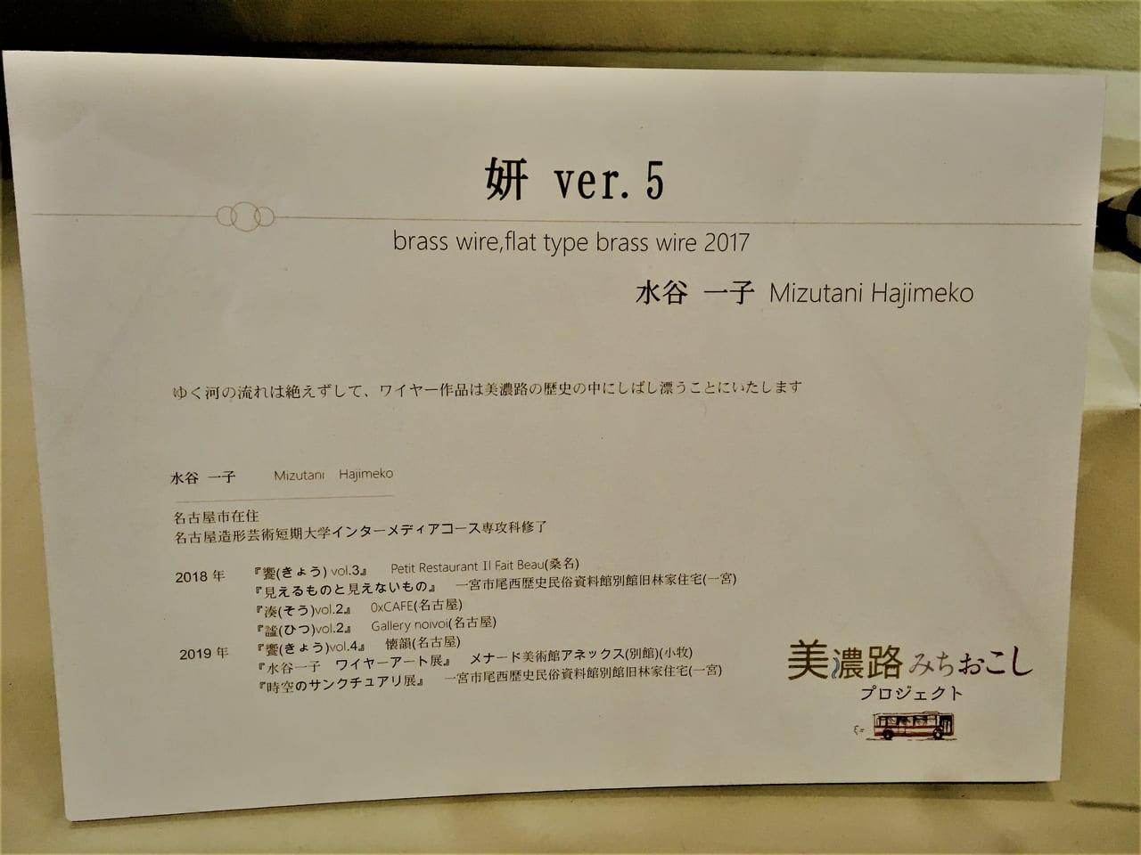 ワイヤーアートの作者 水谷一子さんの履歴
