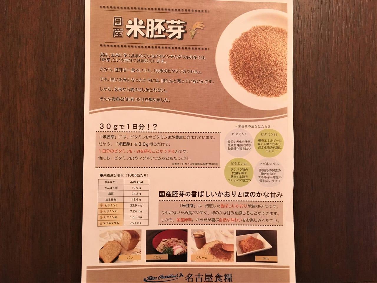 カフェレストランICHIMOで販売開始された国産の米胚芽食パンの説明書